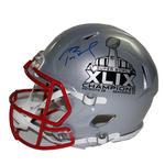 Tom Brady Signed New England Patriots Super Bowl XLIX Logo Speed Authentic Full Size Helmet (Tristar/SSM)