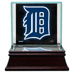 Detroit Tigers Glass Single Baseball Case with Team Logo Background