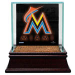 Miami Marlins  Glass Single Baseball Case with Team Logo Background and Authentic Field Dirt Base (MLB Auth)