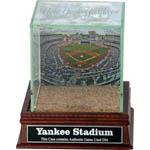 New York Yankees Stadium Background Glass Single Baseball w/ Yankee Stadium Authentic Dirt & Nameplate
