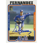 Sid Fernandez Signed 2005 Topps Card - Mets - 1/2 way through pitch front view