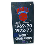 Walter Frazier Signed New York Knicks Authentic 4x8 Piece of 1973 MSG Court w/ Championship Banner Plexi