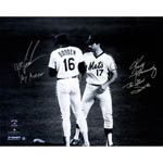 Keith Hernandez & Dwight 'Doc' Gooden Dual Signed Meet At The Mound B&W 16x20 Photo w/ 'The Good Doctor' Insc. by Hernandez & 'My Mentor' Insc. by Gooden