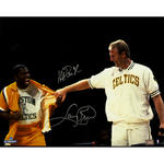 Magic Johnson/Larry Bird Dual Signed 'Pulling Warm Up at Retirement Night' 16x20 Photo
