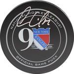 Oscar Lindberg Signed New York Rangers 90th Anniversary Logo Puck