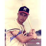 Eddie Mathews Signed Verical Holding Bat 11x14 Photo (JSA)