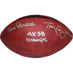 "Bill Parcells/Tom Coughlin Dual Signed Special Edition Gold Foil 4 SB Logo Football w/ ""4X SB Champs"" insc"