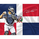 Gary Sanchez Signed Dominican Flag Design 16x20 Metallic Photo