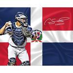 Gary Sanchez Signed Dominican Flag Design 16x20 Metallic Photo w/ 'Dominicano!' Insc.