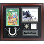 Victor Espinoza Signed 20X24 Framed Collage w/ Signed Belmont 8x10,  Replica Horseshoe,  Belmont Program, $2  Belmont Win Ticket  & Belmont Stakes Track Used Dirt