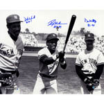 Don Mattingly, Rickey Henderson & Dave Winfield Triple Signed Standing In The Outfield 16x20 Photo w/ Years Played Insc.