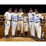 Final Game at Yanke Stadium Perfect Game Battery Mates  Signed Metallic Sepia Background 16x20 Photo w/ PG Insc (MLB Auth) (6 Signatures)