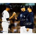 Derek Jeter, Andy Pettitte & Mariano Rivera Close Up On Mound Triple Signed 20x24 Photo (MLB Auth)