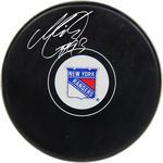 Mika Zibanejad Signed New York Rangers Logo Puck